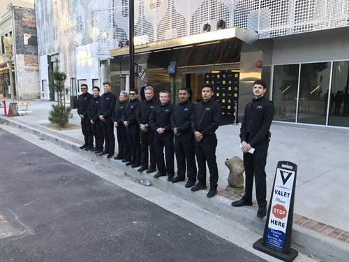 Premiere Valet Services, Inc ready to valet for the grand opening of a new high-rise condo building in Downtown Los Angeles.