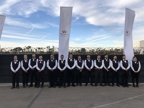 Premiere Valet Services, Inc. ready to provide valet service for an event for Infiniti in Hawthorne, CA.