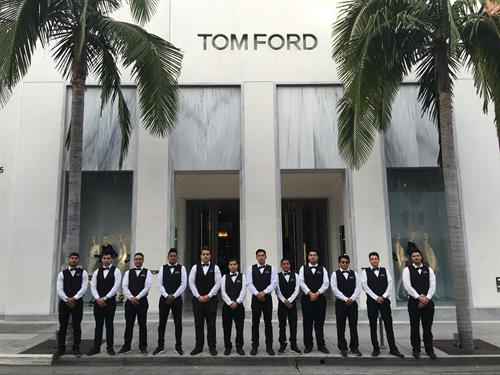 Premiere Valet Services, Inc. providing valet service at Tom Ford in Beverly Hills.