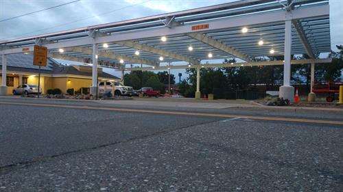 95kW carport, Anderson CA - LED Lighting at Dusk