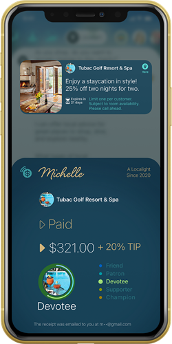 Customers earn rewards when they pay with the Localight App