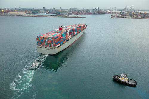 Container vessel entering the Port
