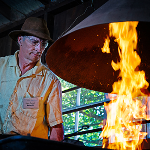 Blacksmith at work at Rancho Los Alamitos