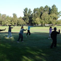 Tai chi master Matthew is teaching a class in Heartwell Park