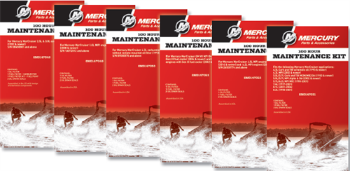 Mercruiser and Mercury 100 and 300 hour service maintenance kits for sale