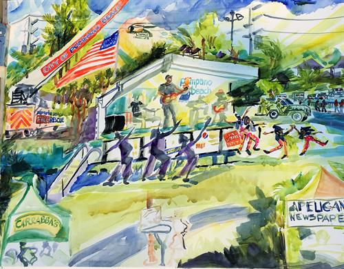 Artist Pat Anderson captured the event on her watercolor canvas