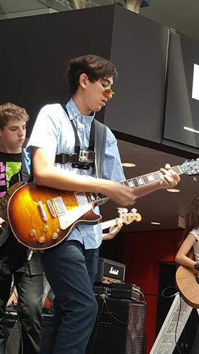 Our kids playing at the Rock and Roll Hall of Fame in Cleveland.
