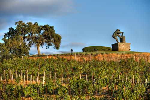 Merirtage Resort Vineyards and Grape Crusher Statue