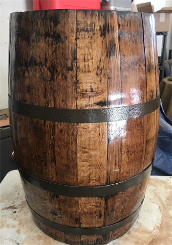 Wine barrel found in basement refinishing to bathroom sink