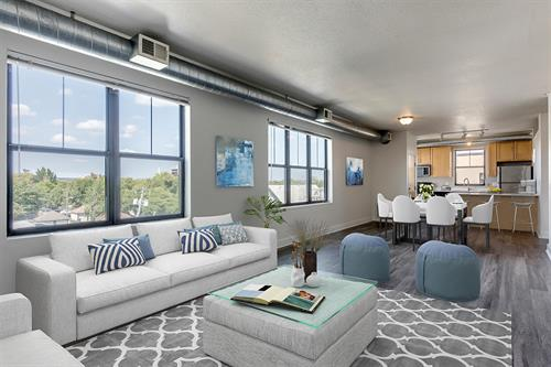 Premium loft apartments with large windows