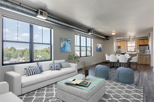 Premium loft apartments with large windows