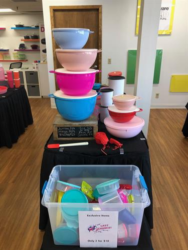 All the items on the tables are open for onsite purchases and change often. Many of what you see is what we have in stock so you can take it home that day!