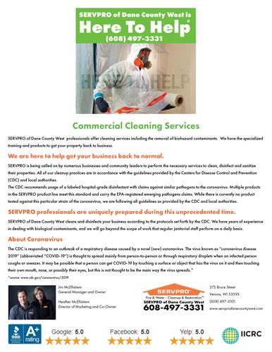 Commercial Cleaning Services - https://www.servprodanecountywest.com/