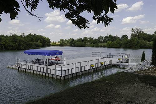Large Dock on Farm Pond in Indiana