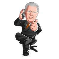 sitting on the phone suit caricature