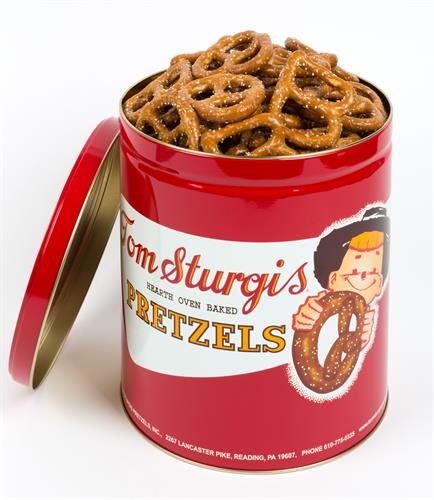Chris B's in an iconic Tom Sturgis Pretzels tin