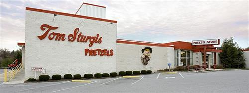 The outside of the Tom Sturgis Pretzels factory and retail store