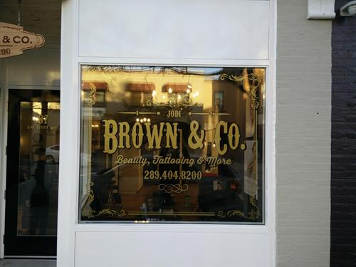 Interior storefront window graphics