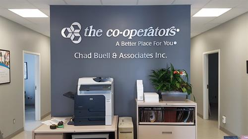 Interior office dimensional pin mount lettering, brushed aluminum face