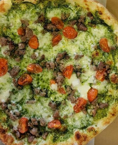 The Basil TriColor pizza