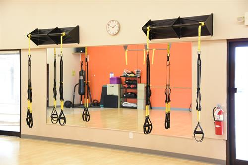 Our fitness studios are equipped for TRX as well as Barre, and we offer Zumba, Yoga, and Muscle Max classes too!