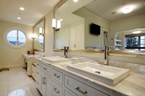 Farmhouse Bathroom with large Vanity Mirror