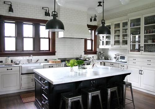 Kitchen with Glass Insert Cabinets