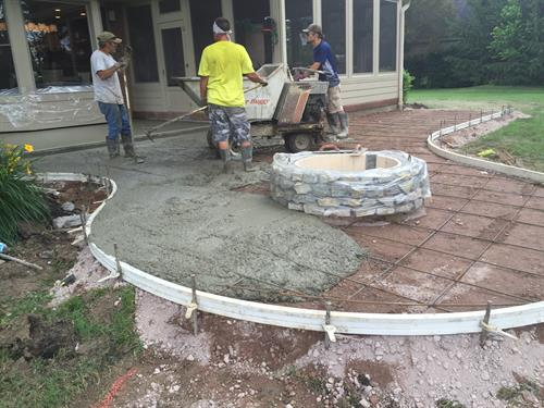 Pouring Stamped Concrete Patio Loveland Ohio
