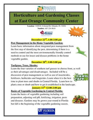 Horticulture And Gardening Classes Dec 28 2016 East Orlando Chamber Of Commerce