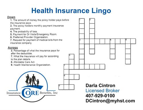 Health Insurance Lingo Crossword