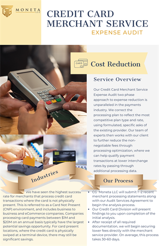 Credit Card Merchant Services - Cost Reduction