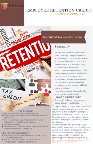 Employee Retention Credit (ERC) - Specialized Tax Incentives