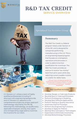 R&D Tax Credit - Specialized Tax Incentives