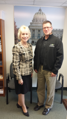 Rep. Karen Boback & the SBDC's Keith Yurgosky discussing outreach office hours at her Tunkhannock office.