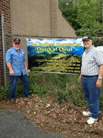 New banner outside our location.  Jimmy Davis (left) and Dave Laton (right)