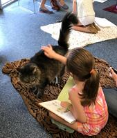 In July kids get to read to the animals through our Pages With Pets program