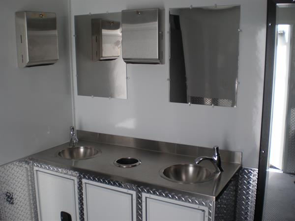 Our newest Restroom Trailer, featuring an Industrial decor