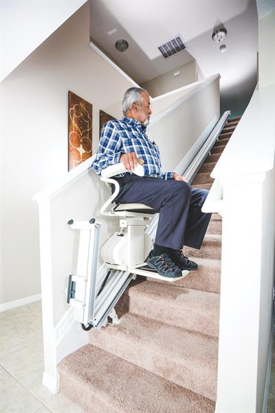Straight Stairlift with Folding Rail