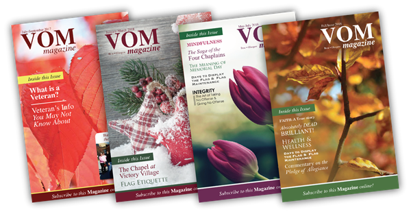 Covers of our 2018 VOM Magazine Series. We actively seek advertisers and sponsors of this incredible local magazine filled with articles, insights, advice, and health and wellness tips all for veterans.
