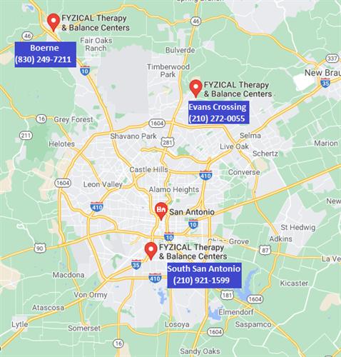 Three locations (Evans Crossing in North San Antonio, South San Antonio and Beorne)