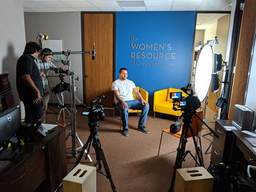 Behind the scenes set-up for an interview with non-profit client The Women's Resource