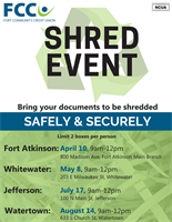 FCCU 2021 Shred Event Dates