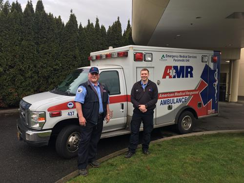 Two fine Clackamas County medics with their rig at Meridian Park Hospital