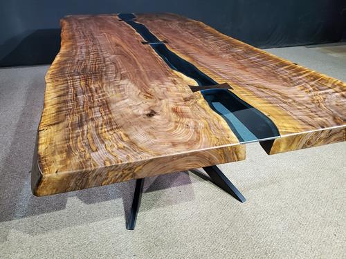 Curly Black Walnut Bridges Collection Dining Table Blue Glass and Bowties