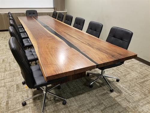 Black Walnut Merge Conference Table with Hidden Dataports
