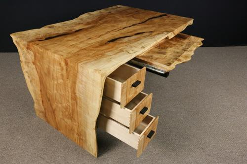 Silver Maple Waterfall Desk with solid burl pencil drawer