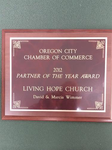 2012 Oregon City  Chamber  Partner of the year