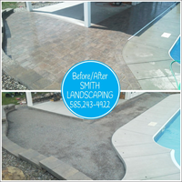 Before/After - Hardscape installation around in-ground pool.