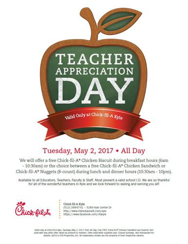 Teacher Appreciation Week 2017 In Texas: Teacher Appreciation Day   May 2  2017   Kyle Area Chamber of    ,