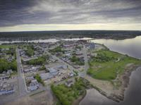 Arial shot of Bathurst, New Brunswick. Folk Media Communications offers arial videography and photography.